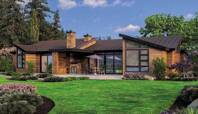 Single Story Contemporary House Plan 69402AM Architectural