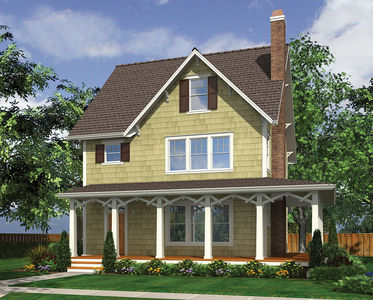Narrow Lot Country Home Plan - 69443AM thumb - 01