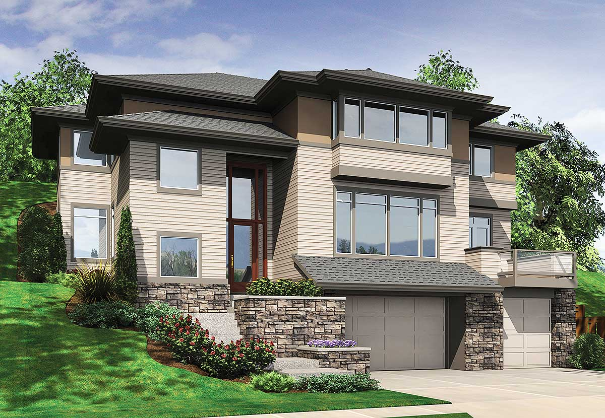 hillside house plans house plan for hillside views 69453am 2nd floor master suite cad available contemporary 3382