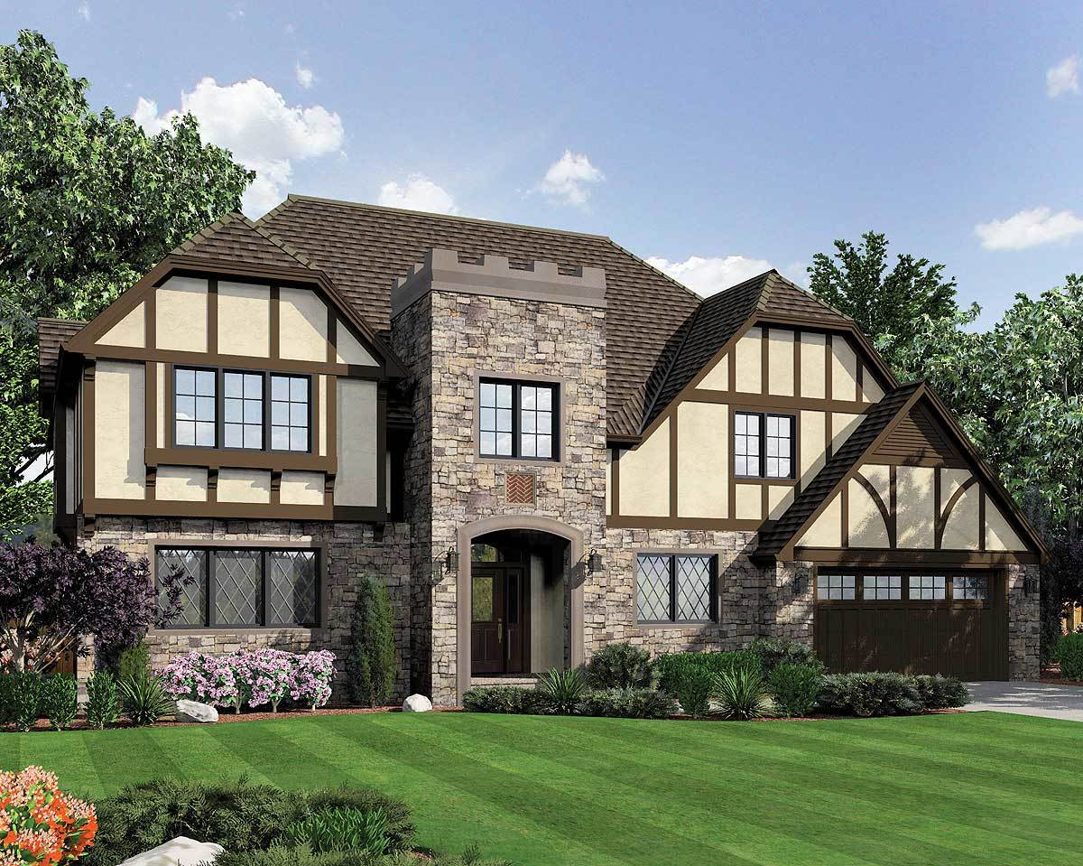 Classic tudor with modern conveniences 69455am for Tudor home designs