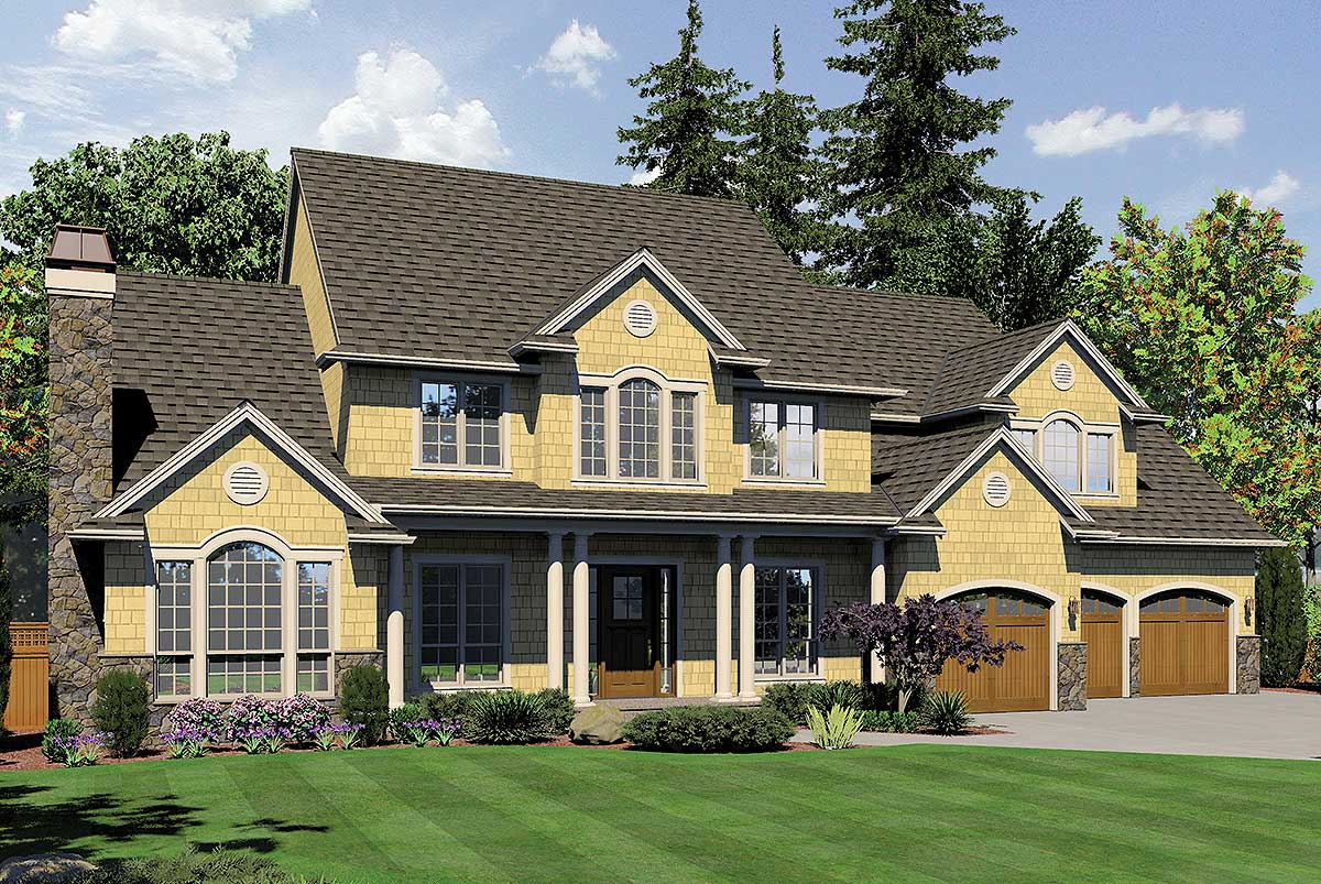 Northeastern shingle style home plan 69456am for Planos de chalets