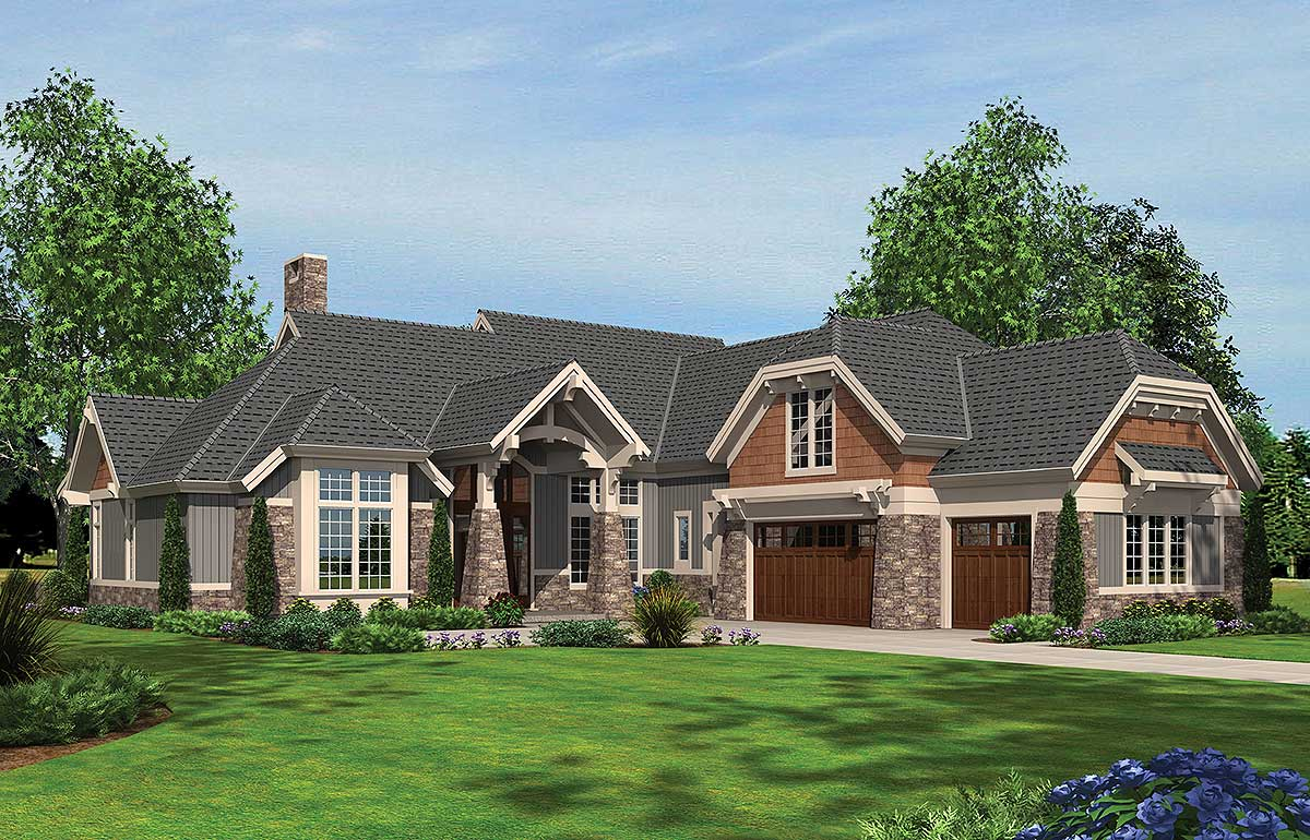 Arts and crafts with two master suites 69462am for 2 master suite home plans