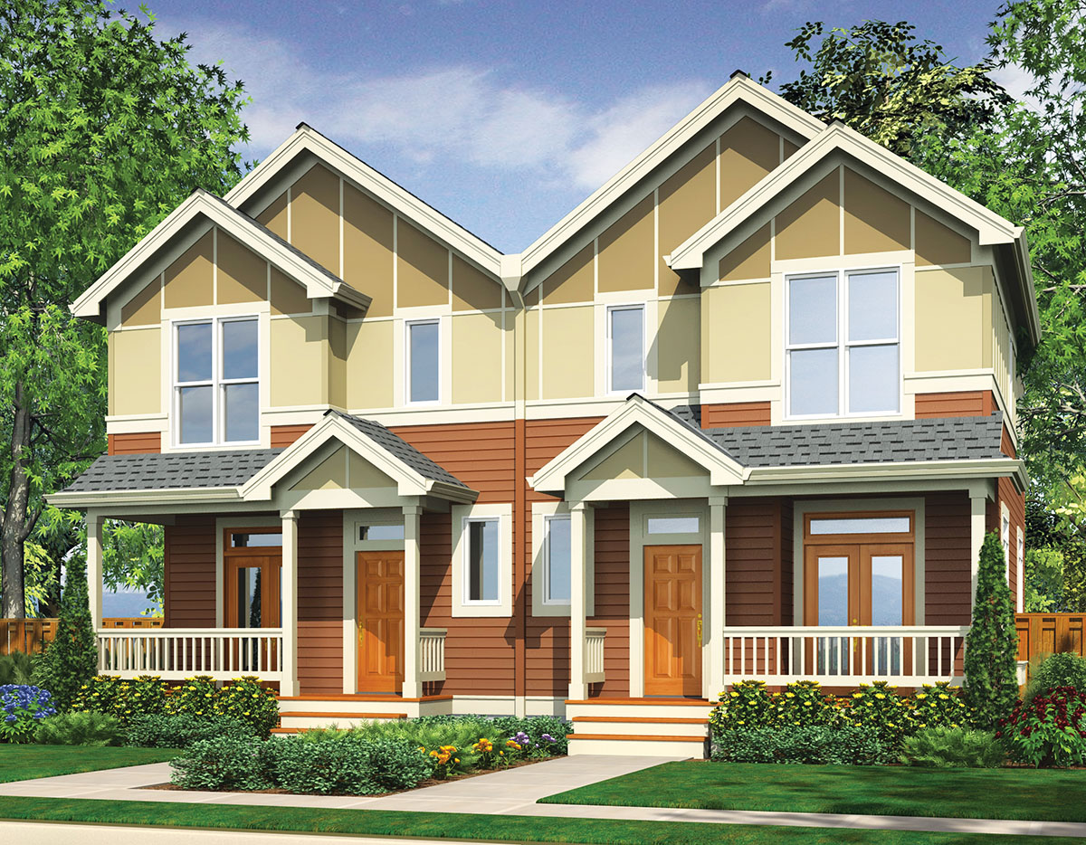 Narrow lot multi family home 69464am architectural for Narrow home designs