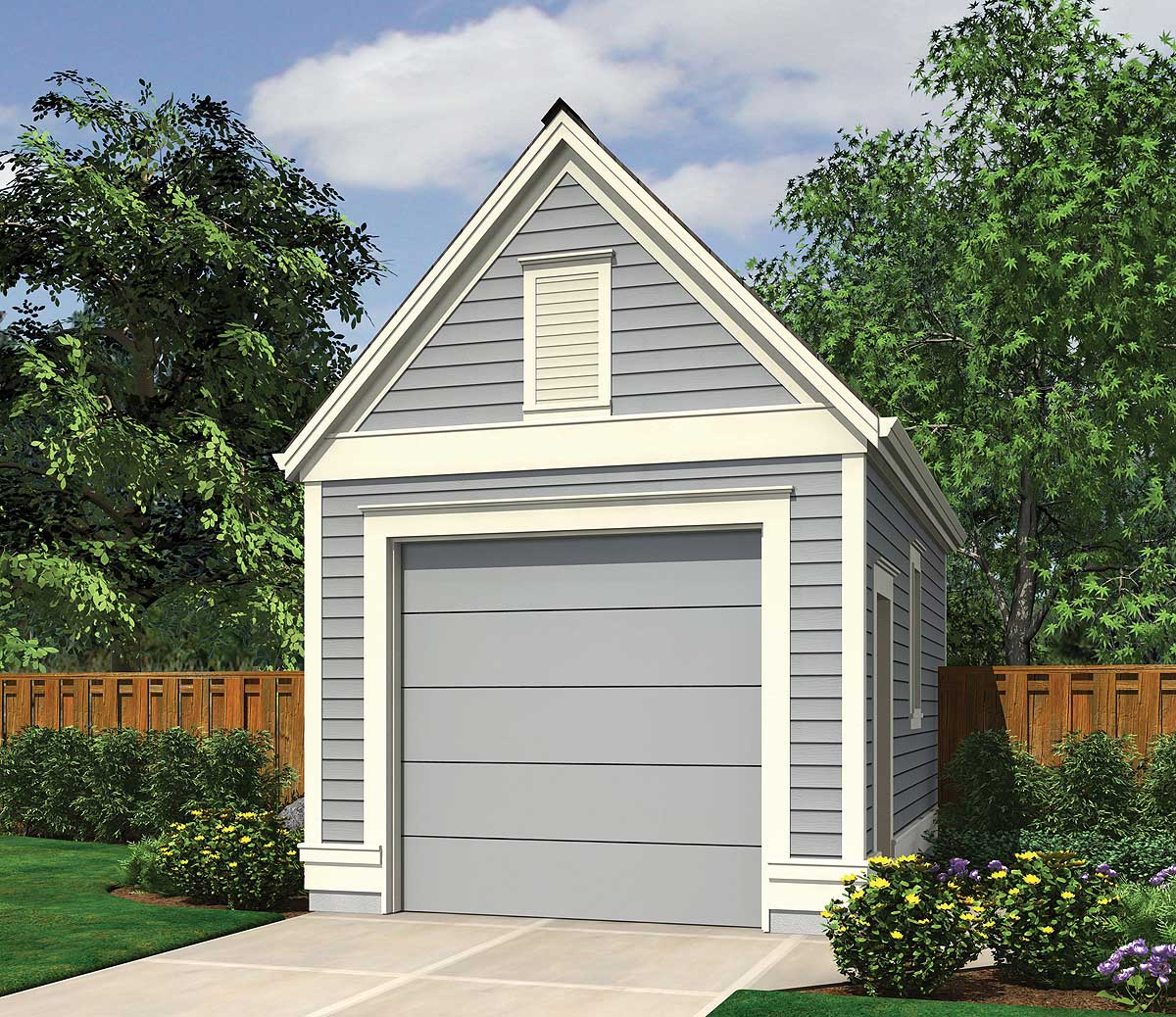 One car garage with lap siding 69471am architectural for Single car garage plans