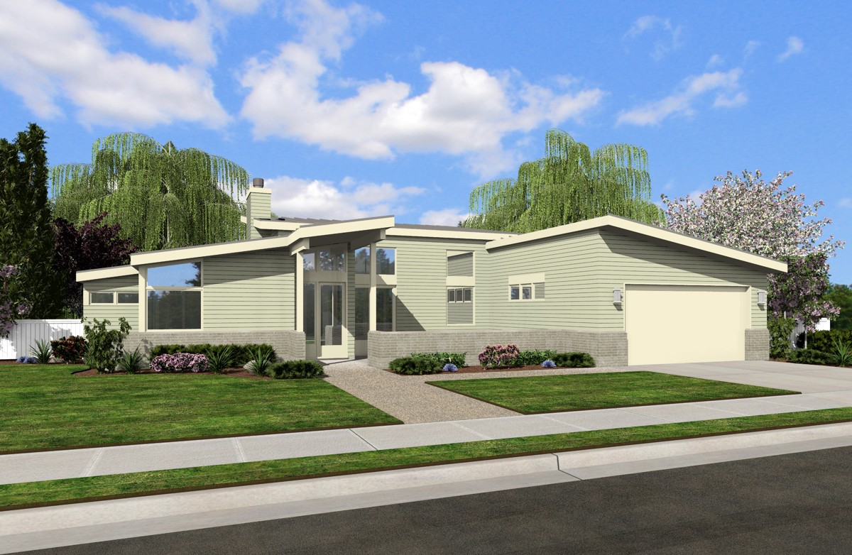 Contemporary With Vaulted Ceilings 69476am 1st Floor