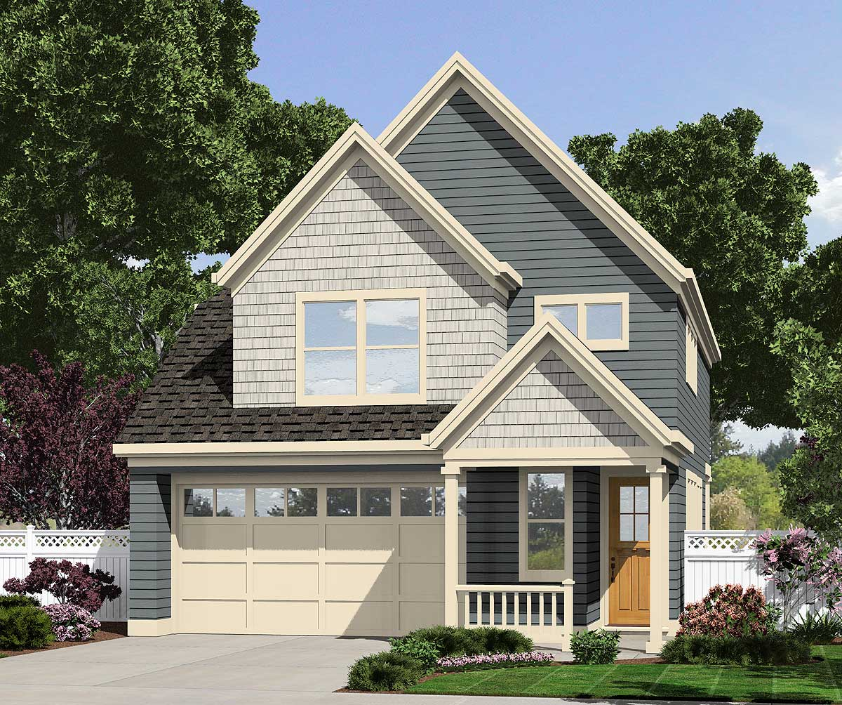Narrow lot cottage 69480am architectural designs for Narrow bungalow house plans
