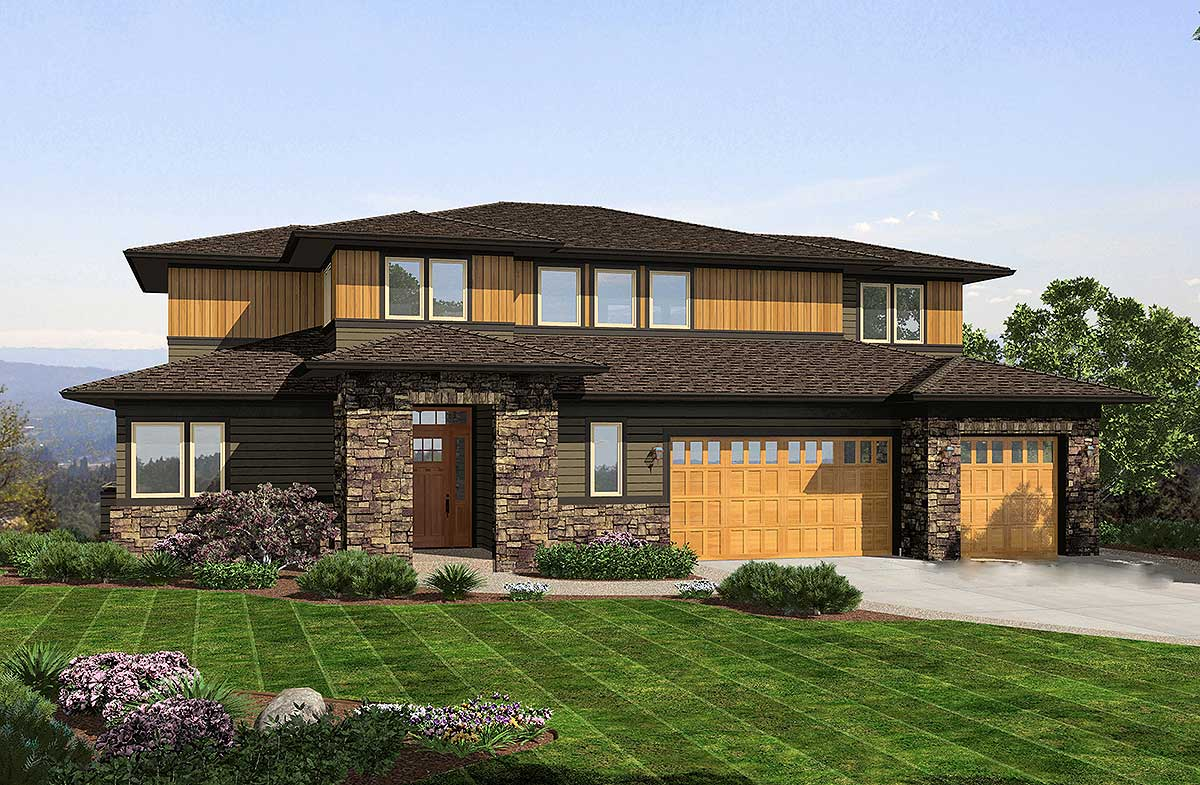 Prairie influences 69498am architectural designs for Prairie style home plans