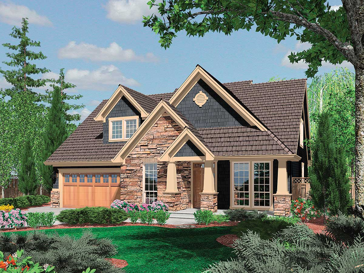 Charming craftsman home plan 6950am 1st floor master for Small craftsman house plans with garage