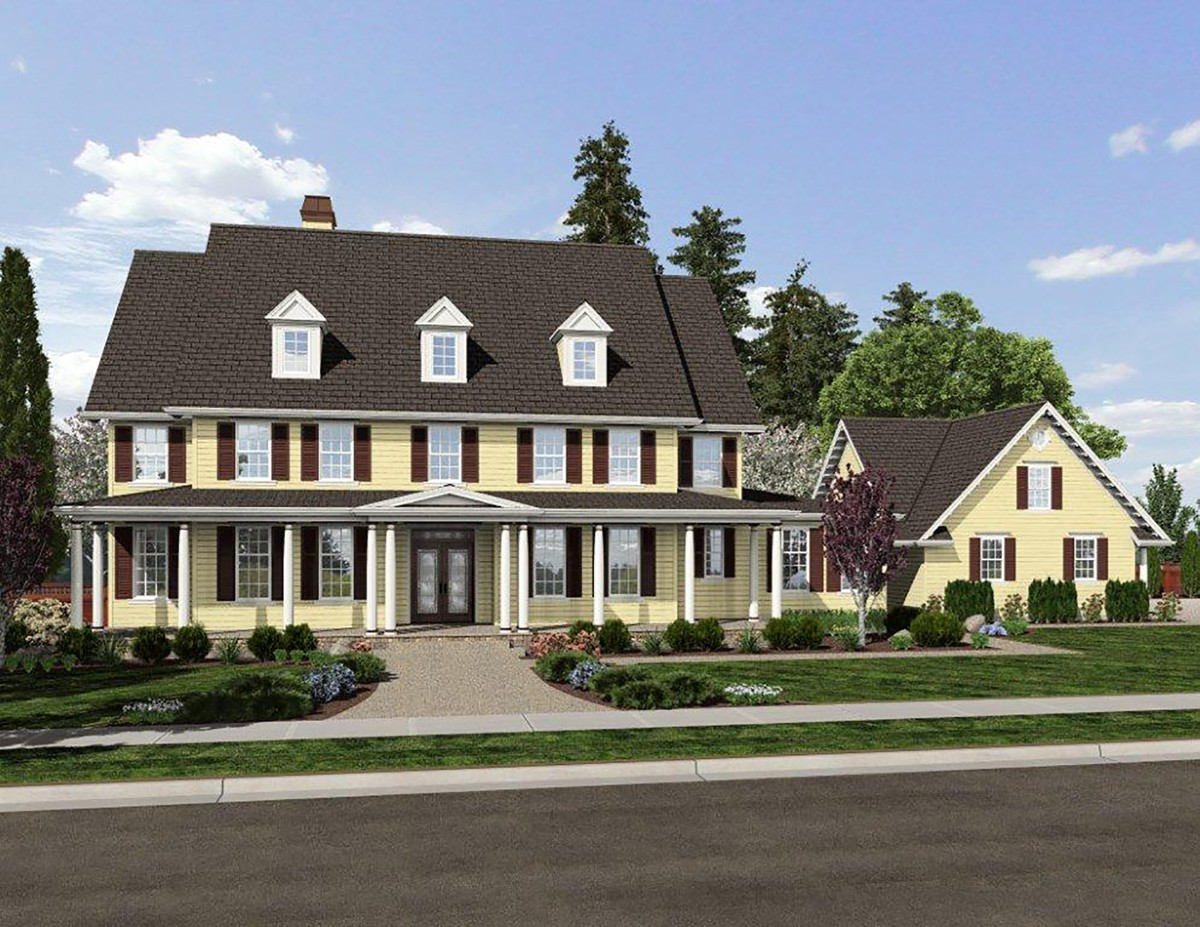Family home with detached apartment 69500am for House plans with detached apartment