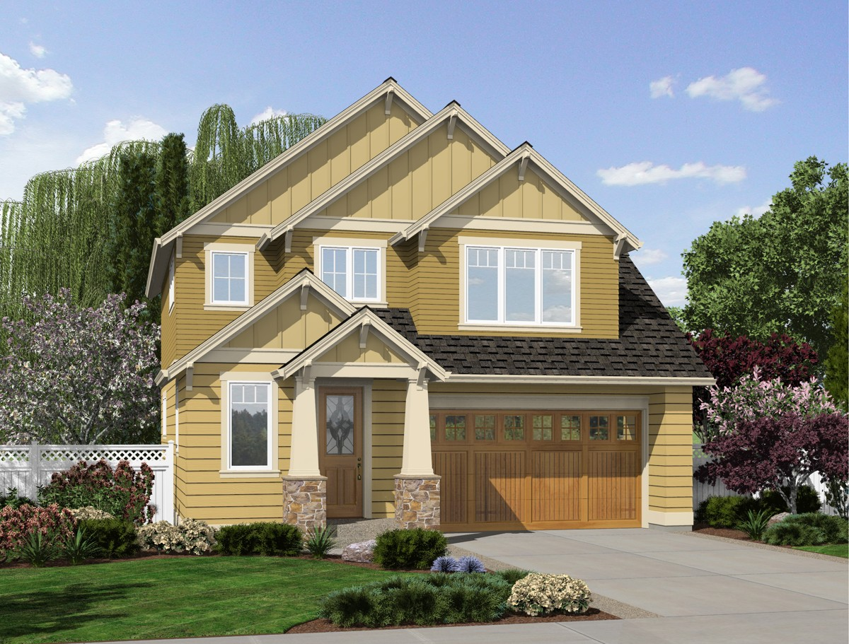 Narrow lot craftsman home plan 69501am architectural for Narrow home designs