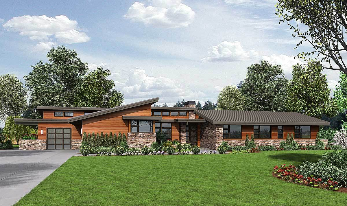 Stunning contemporary ranch home plan 69510am for Modern green home plans