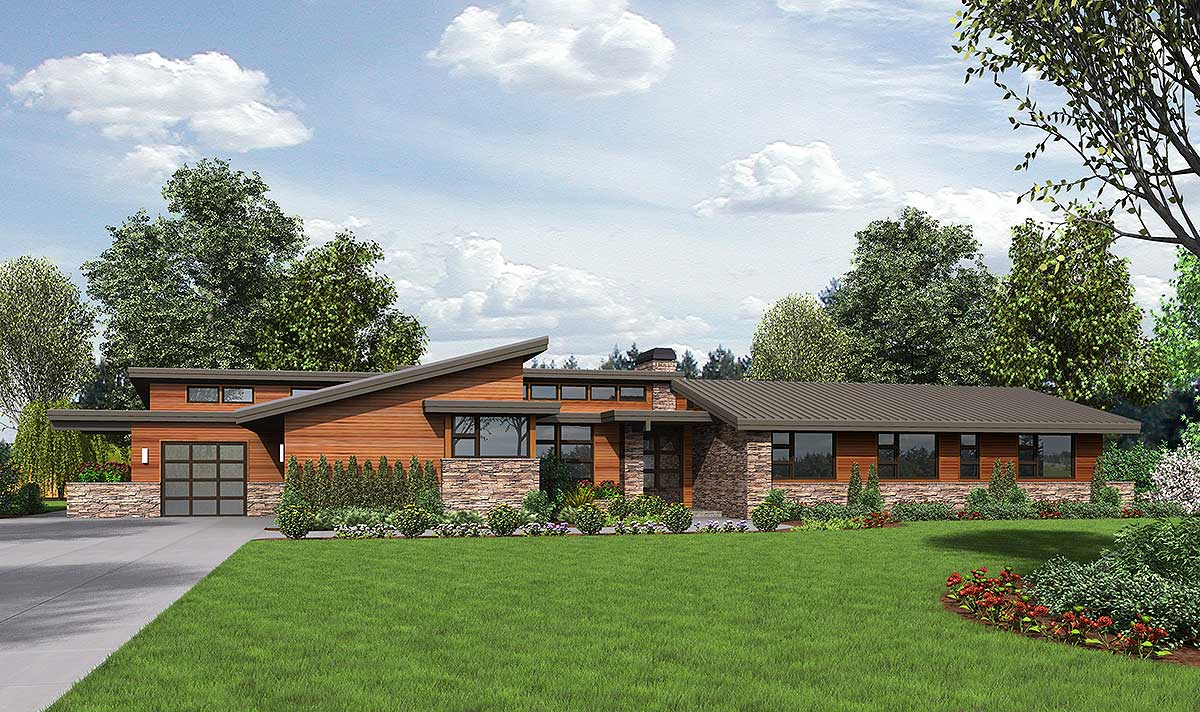 Contemporary ranch home plans for Modern ranch plans