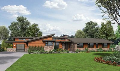 Stunning Contemporary Ranch Home Plan Am Thumb