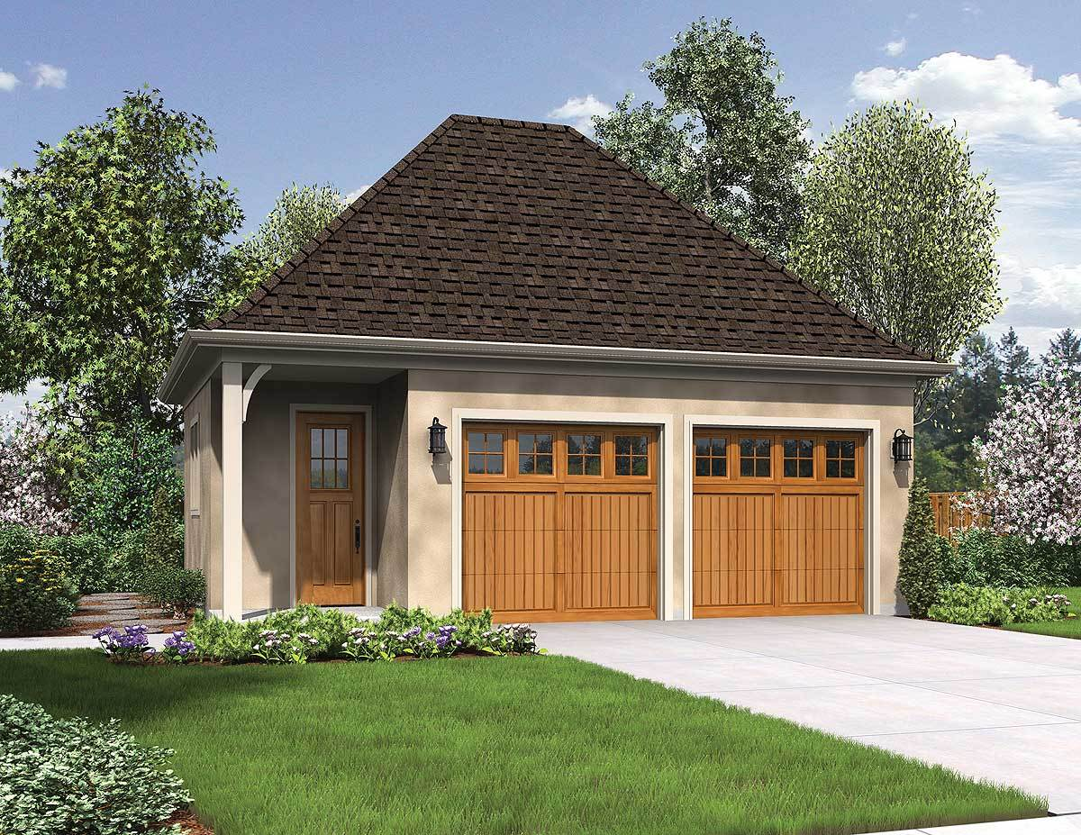 Charming detached 2 car garage 69516am architectural for Detached garage design ideas
