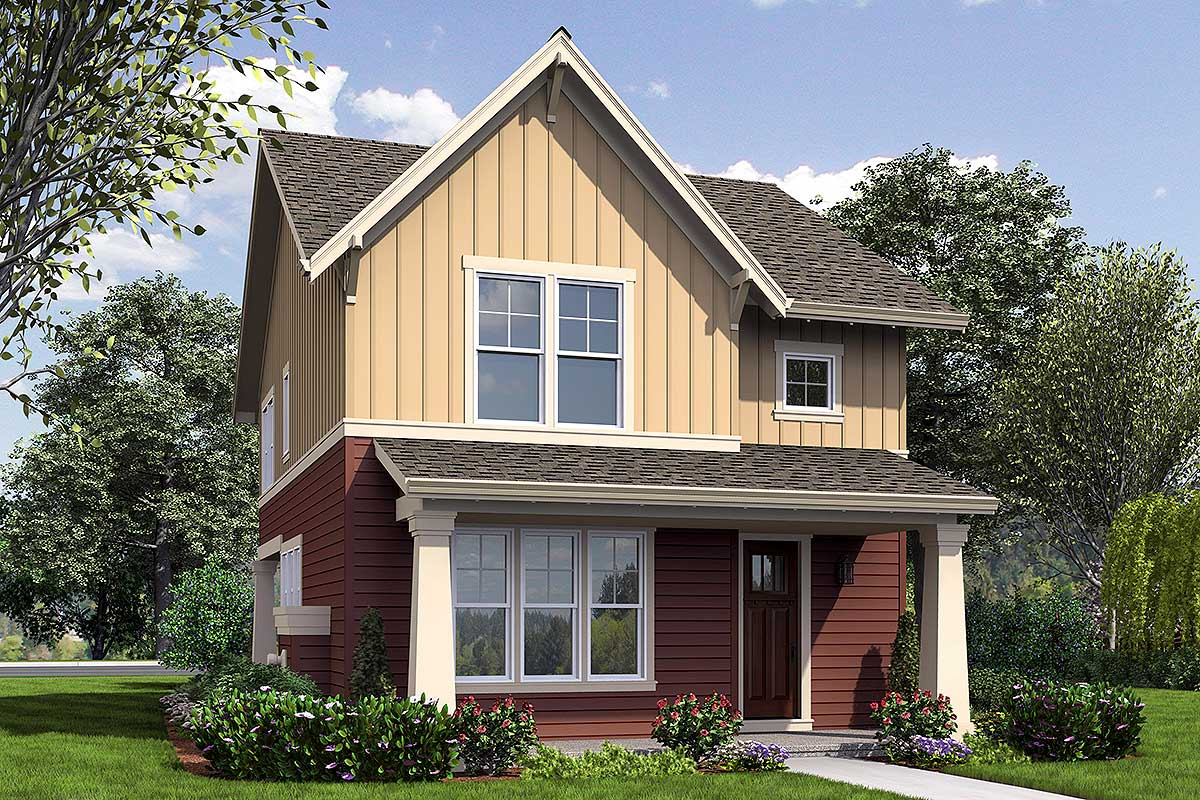 Narrow  Home  Plan  with Rear Garage  69518AM