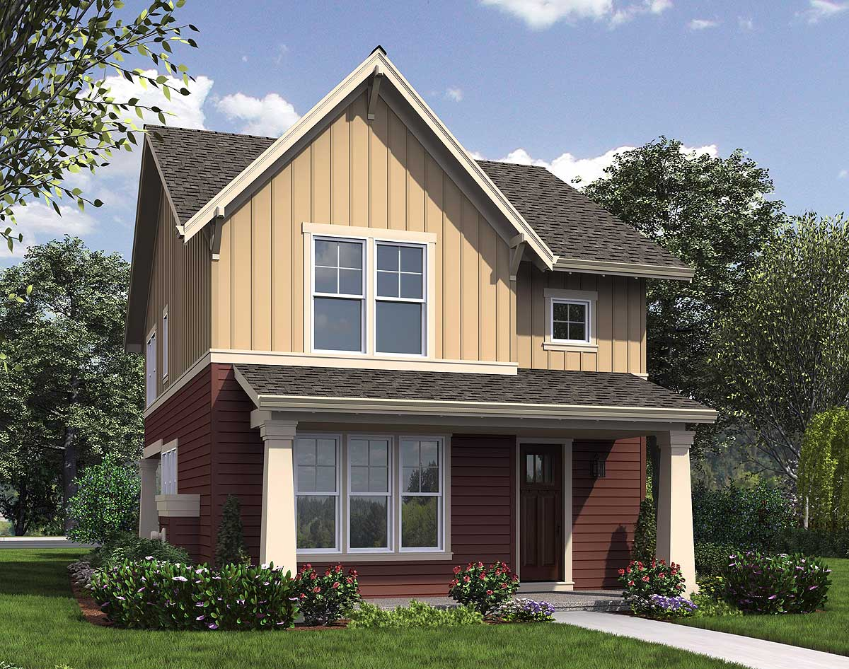 Narrow home plan with rear garage 69518am 2nd floor for Narrow house plans with attached garage