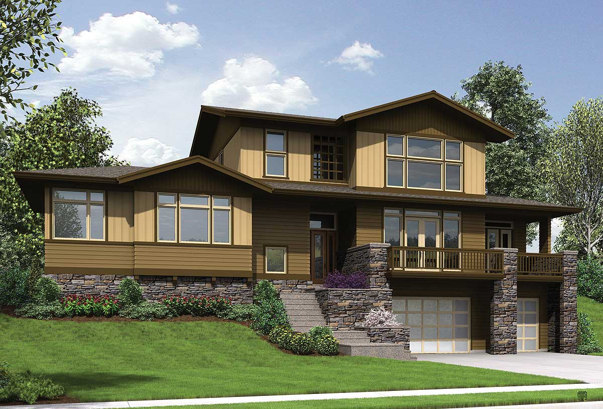 Craftsman for uphill sloping lot 69520am 1st floor for Architecturaldesigns com house plan 56364sm asp