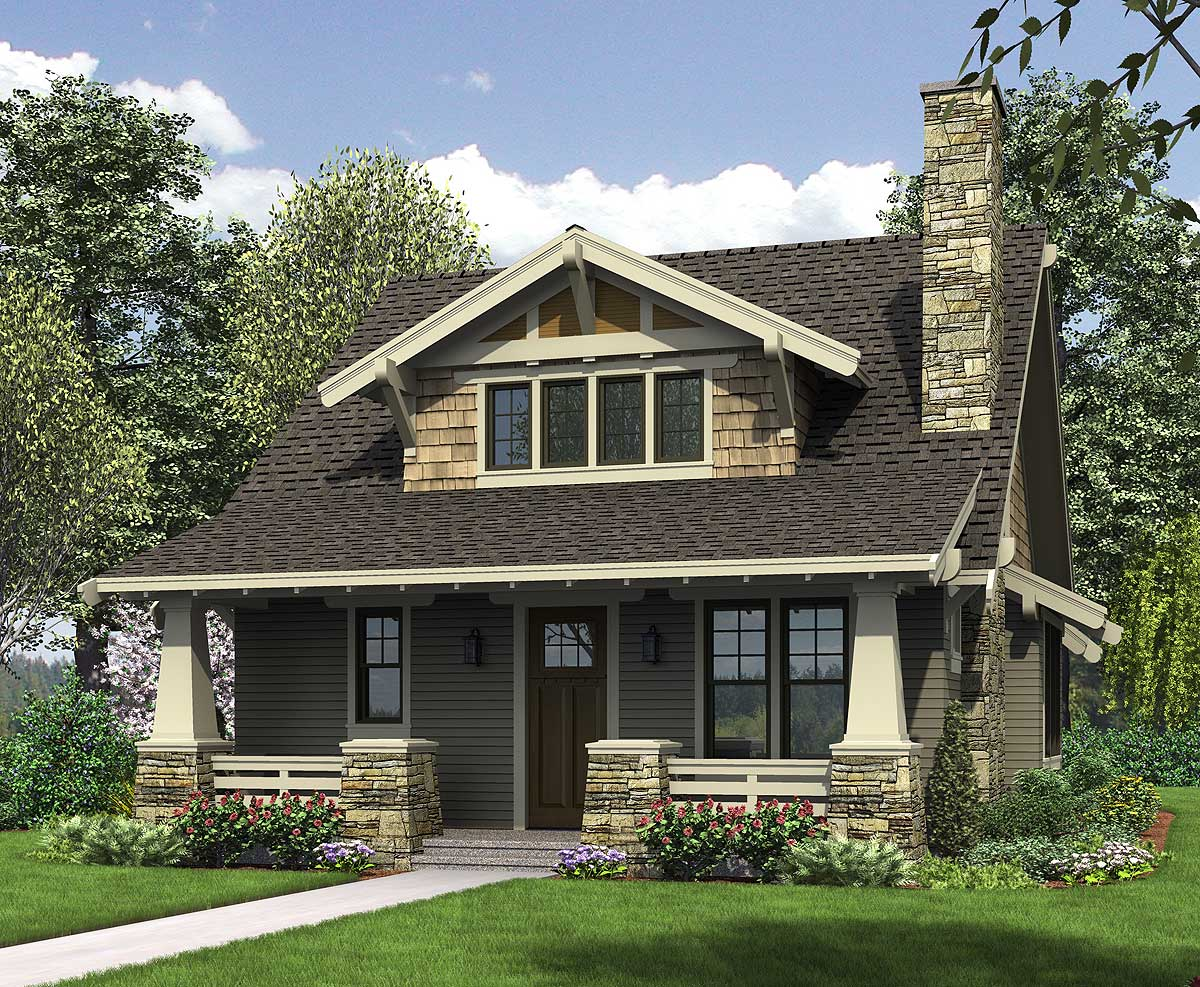 Bungalow with open floor plan loft 69541am 1st floor for Craftsman cottage home plans