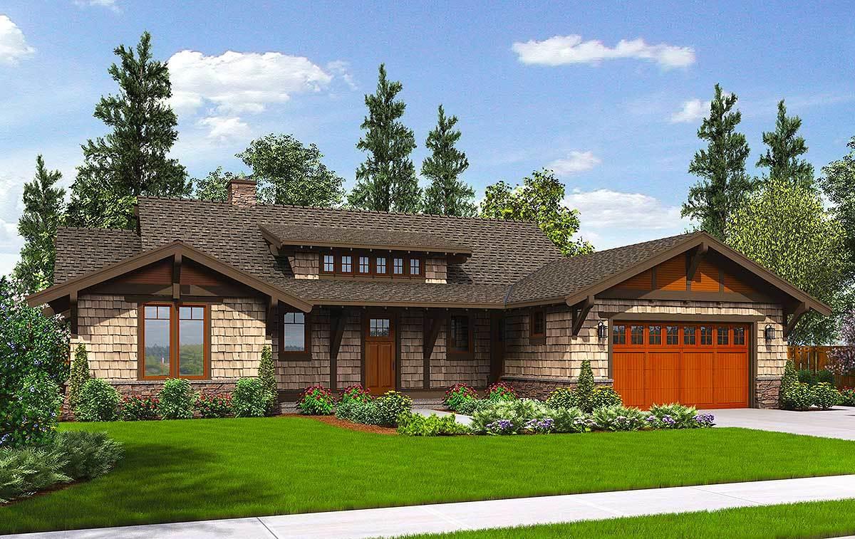 Rustic craftsman with shed dormer 69545am 1st floor for Dormer house plans