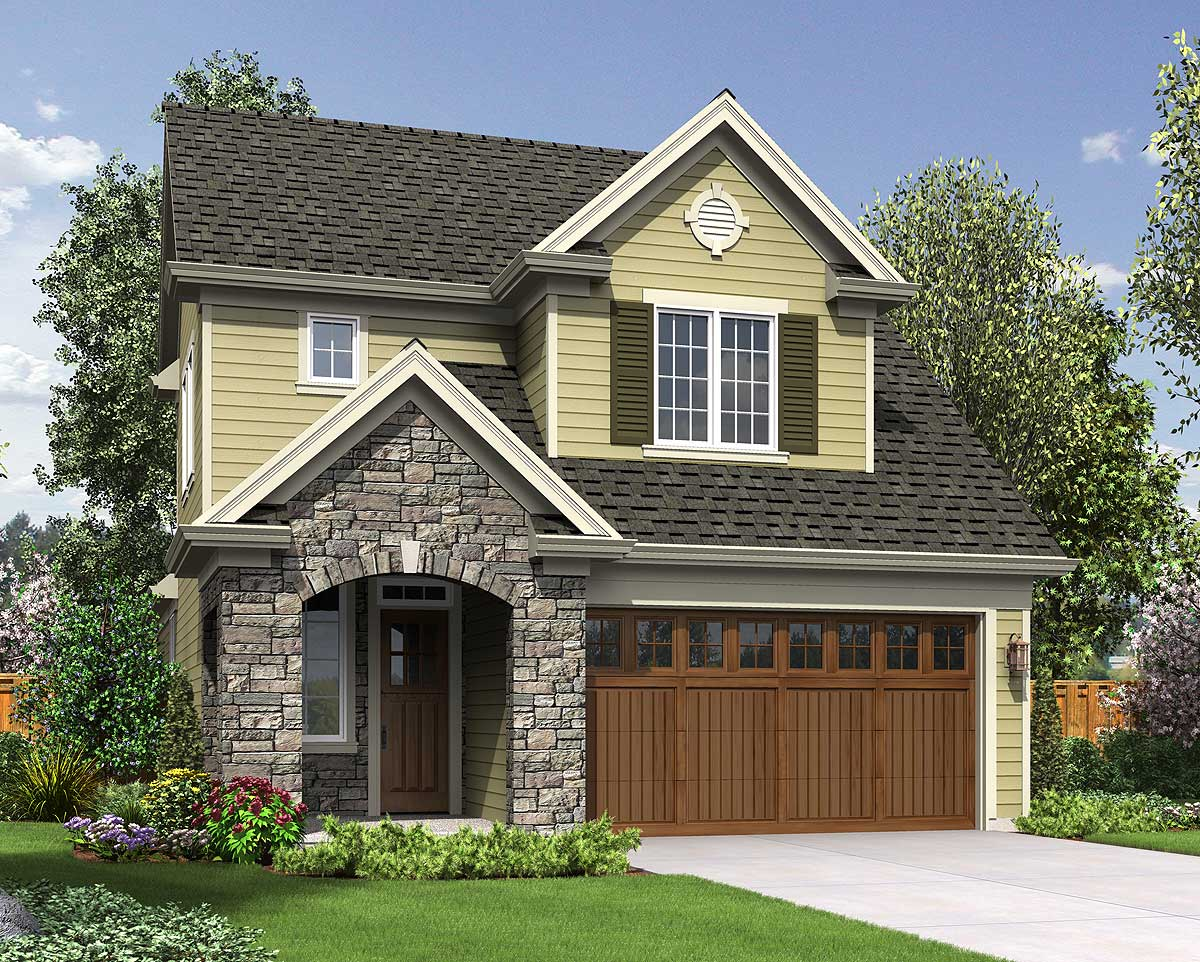 Home Plans: Narrow Lot Traditional Home Plan - 69546AM