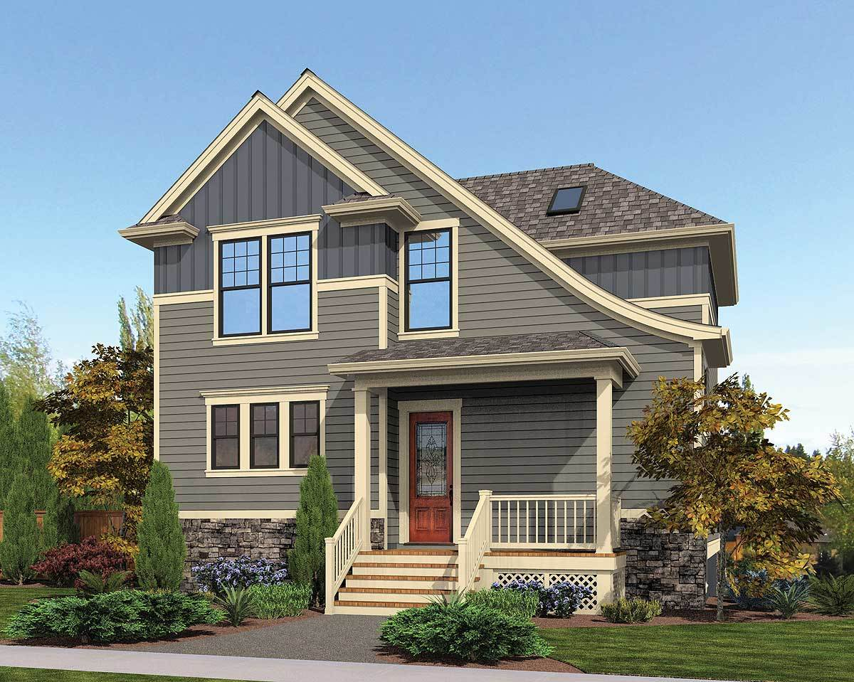 Compact hillside house plan 69551am architectural Hillside garage plans