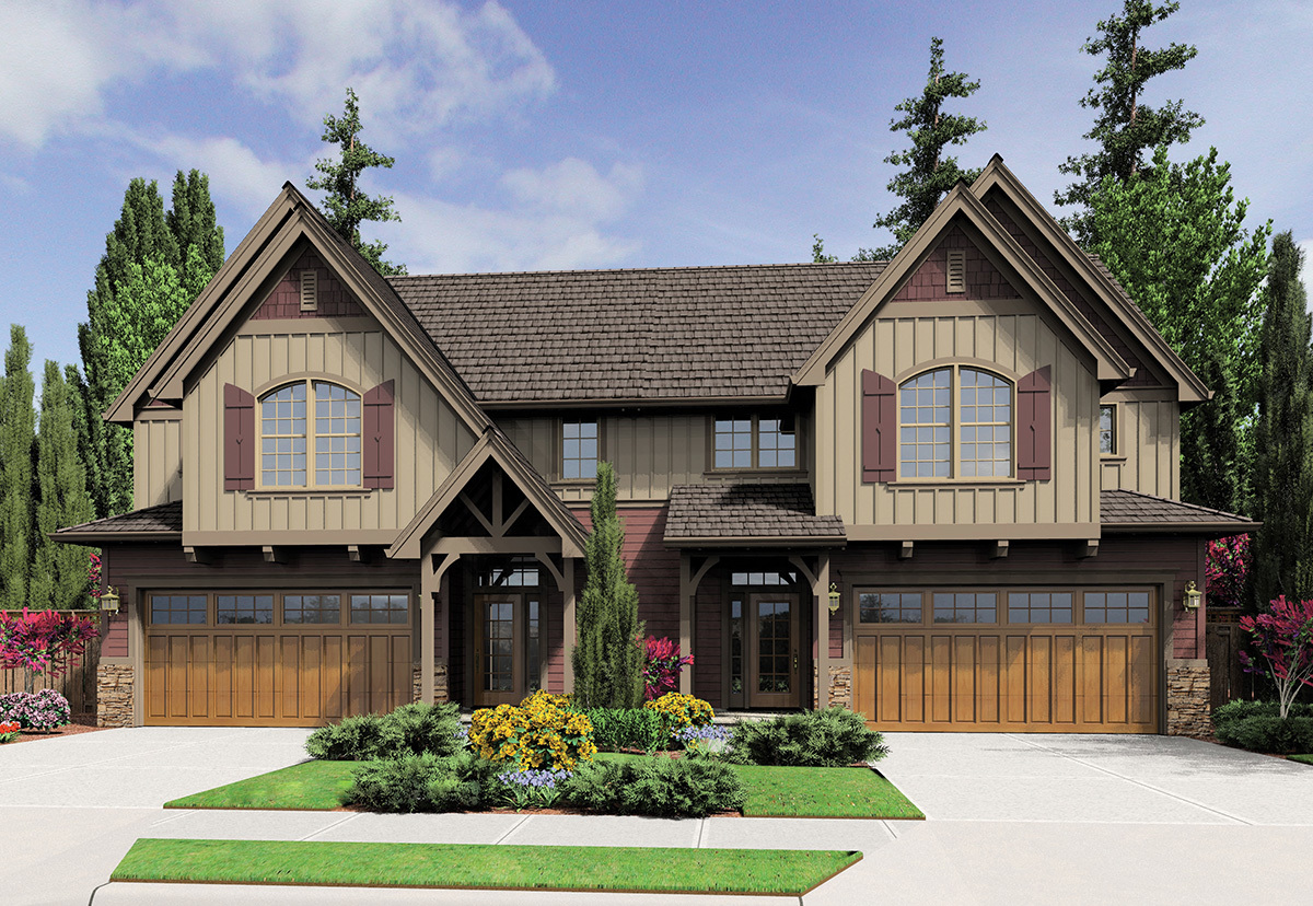 Duplex with old world style 69567am architectural for Old world style house plans