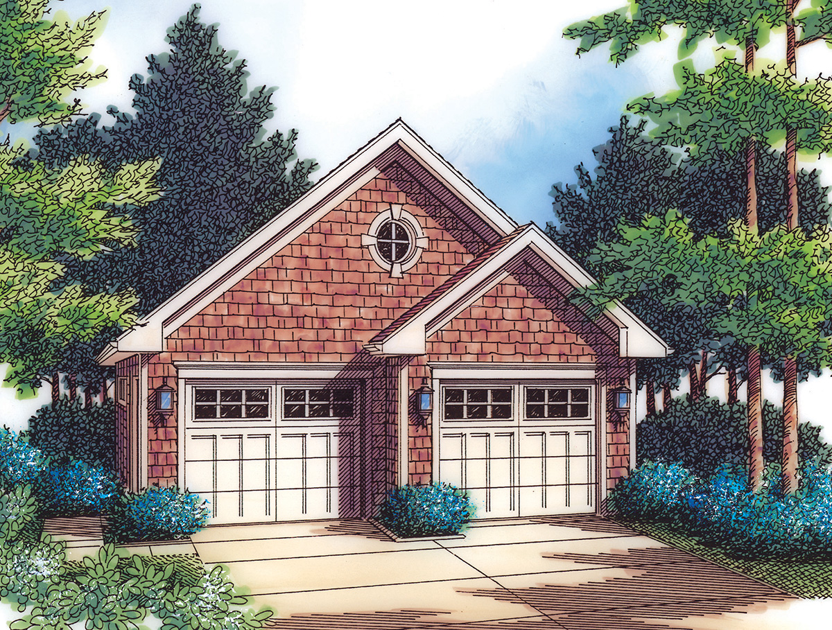 2 Car Garage With Gable Fronts 69568am Architectural