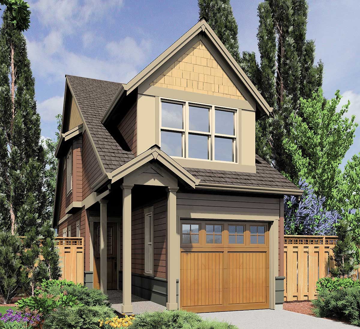 Home Garage Design Ideas: Sliver Of A Home Plan - 69574AM