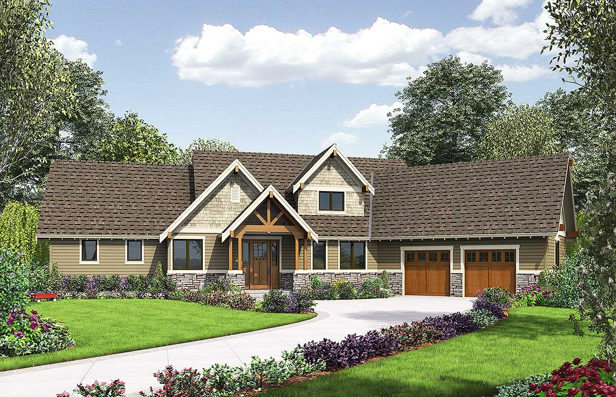Rugged Craftsman With Angled Garage 69594am Architectural Designs House Plans