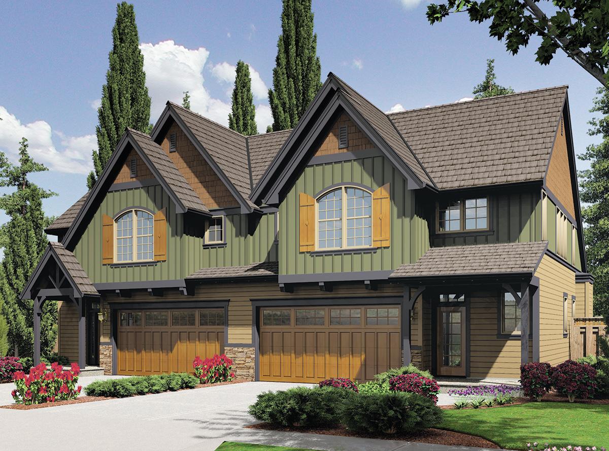 Craftsman Duplex 69596am Architectural Designs House