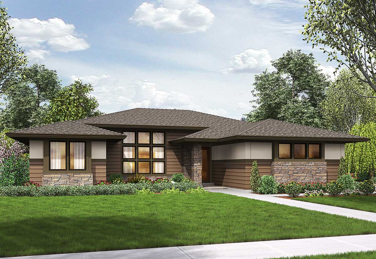 3 bed modern prairie ranch house plan 69603am for Modern ranch style homes