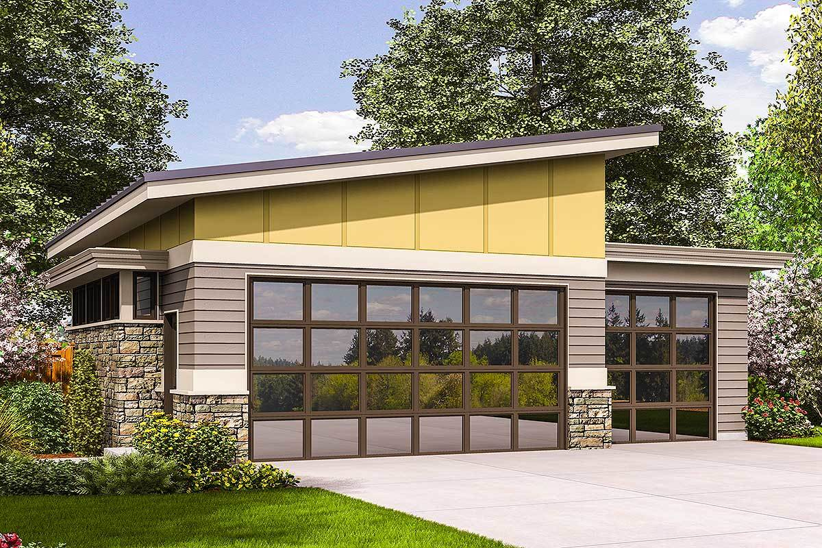 Contemporary Garage Plan 69618AM Architectural Designs House Plans
