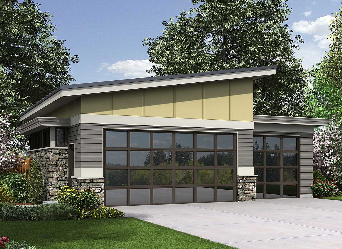 Contemporary garage plan 69618am cad available modern for Modern house plans with garage