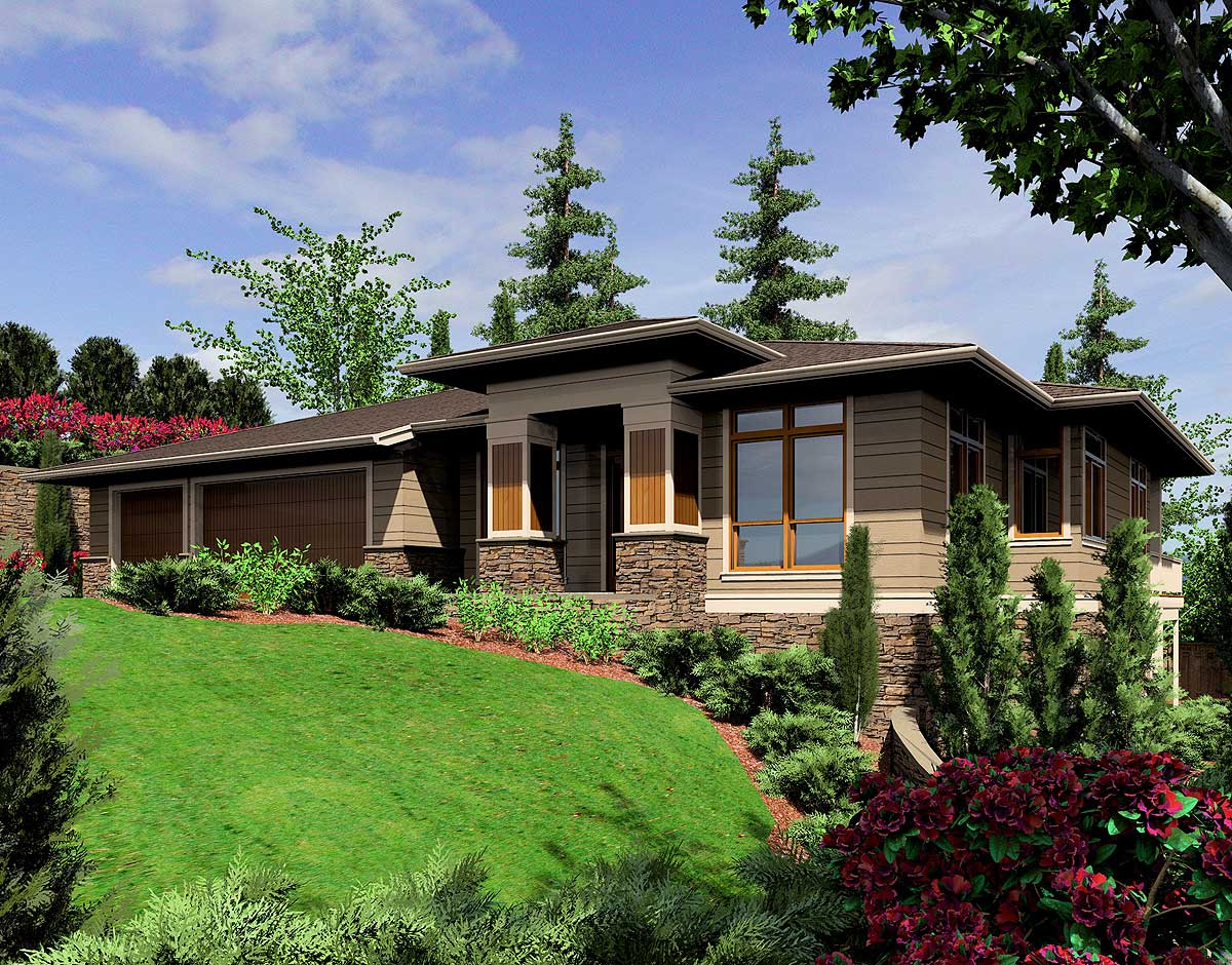 Modern prairie style home plan 6966am architectural Prarie house plans
