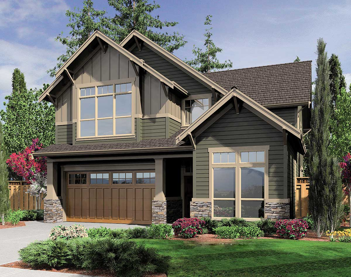 Charming bungalow for a narrow lot 6993am 2nd floor for Bungalow house plans for narrow lots