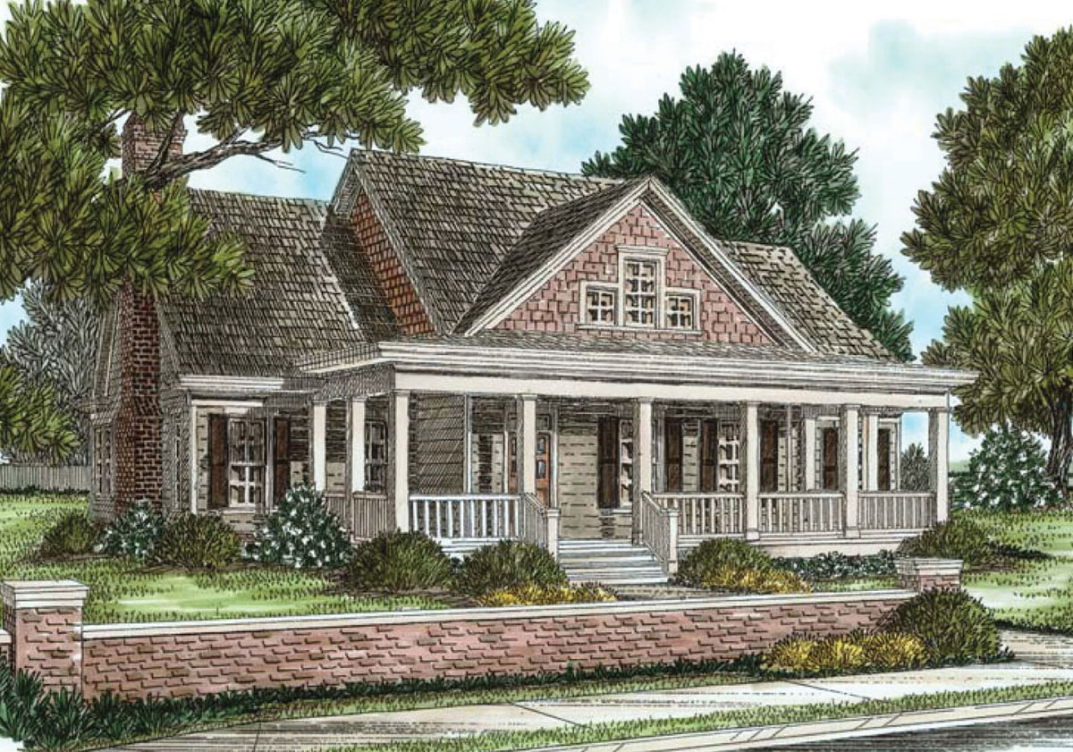 3 bed cottage with alley garage and sunroom 70013cw for Cottage house plans with garage