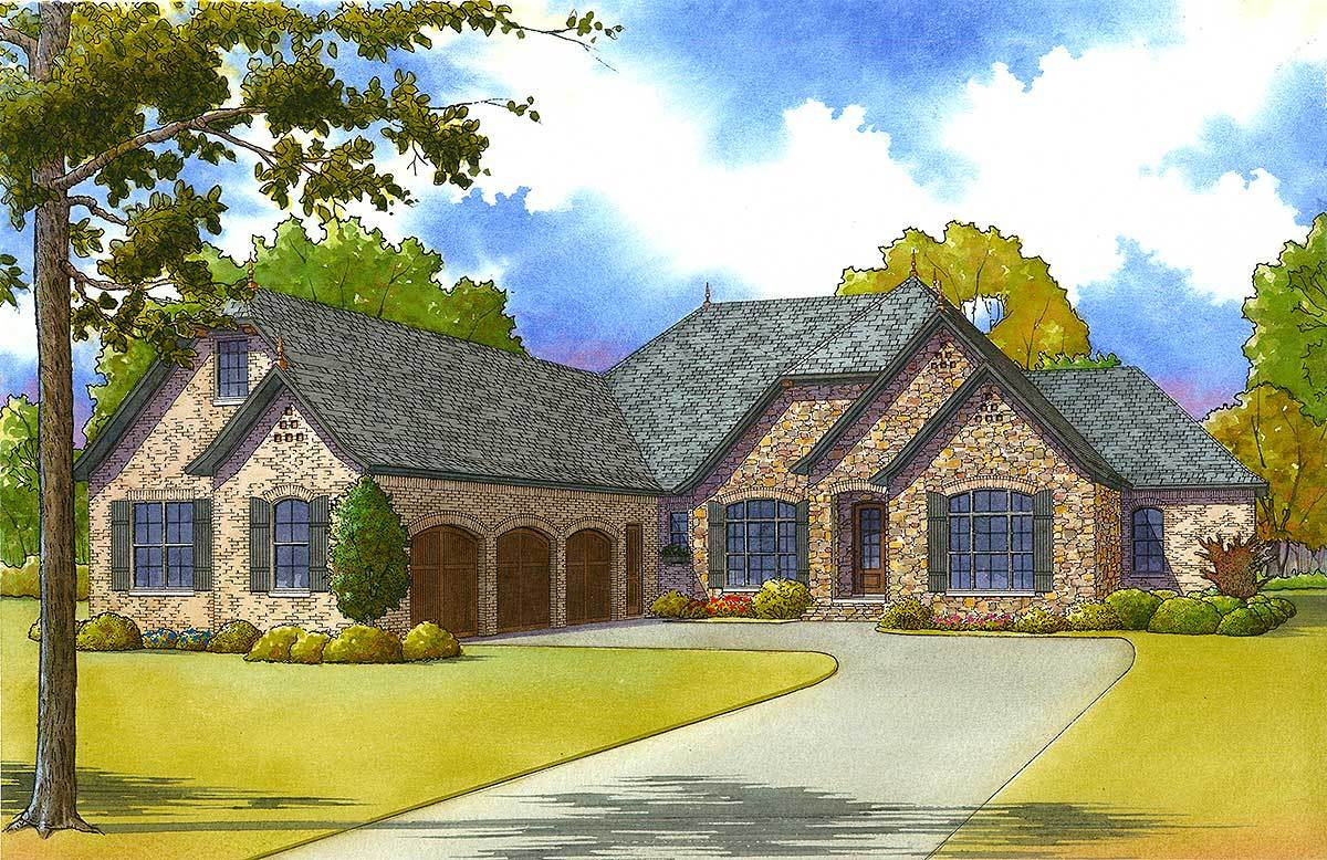 4 bed euro style with courtyard entry garage 70507mk for Courtyard entry house plans