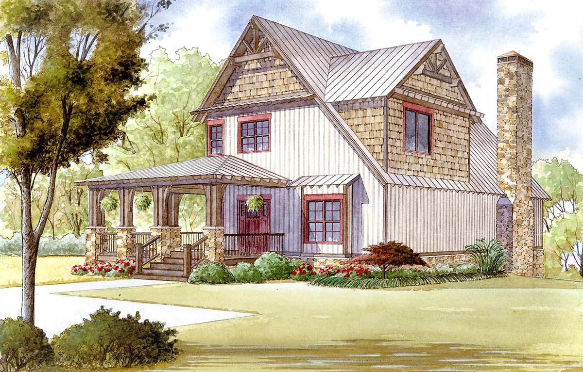 Rustic House Plan With Wraparound Porch 70509mk 1st