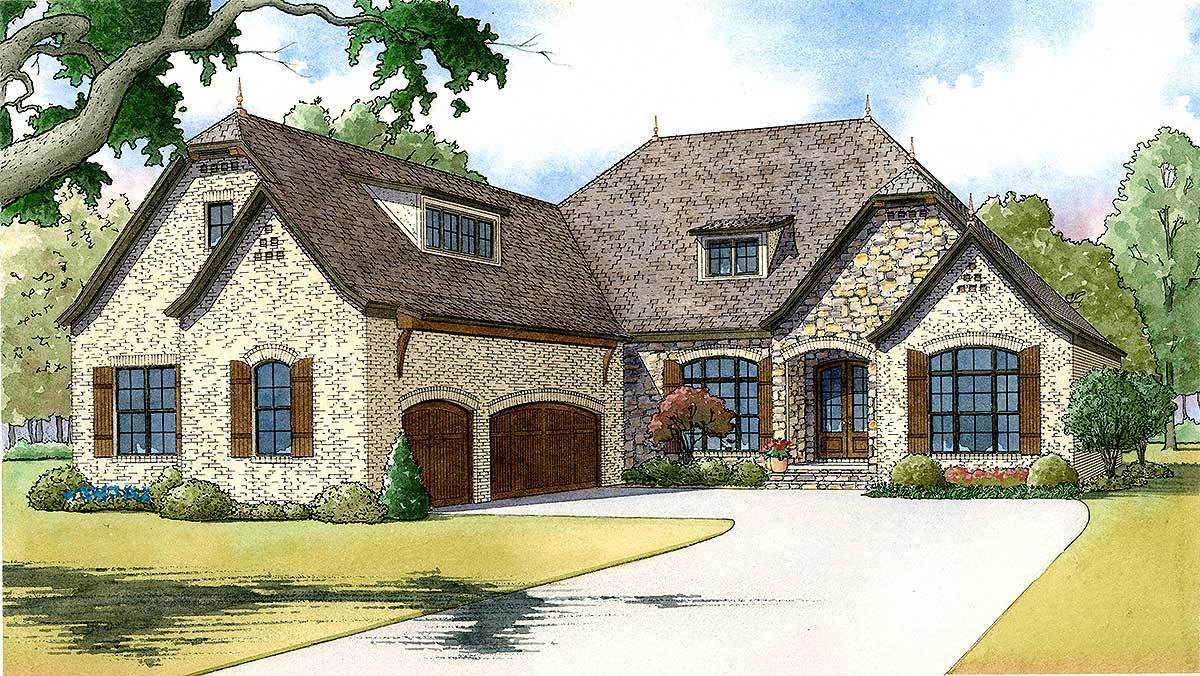 3 bed french country with bonus over garage 70519mk for French country garage plans