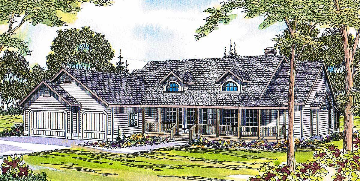 Single story with gables dormers 72014da architectural for 2 story house plans with dormers