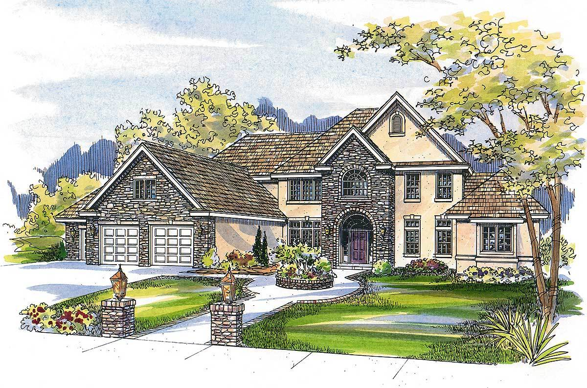 French country estate home plan 72067da architectural for Large estate house plans
