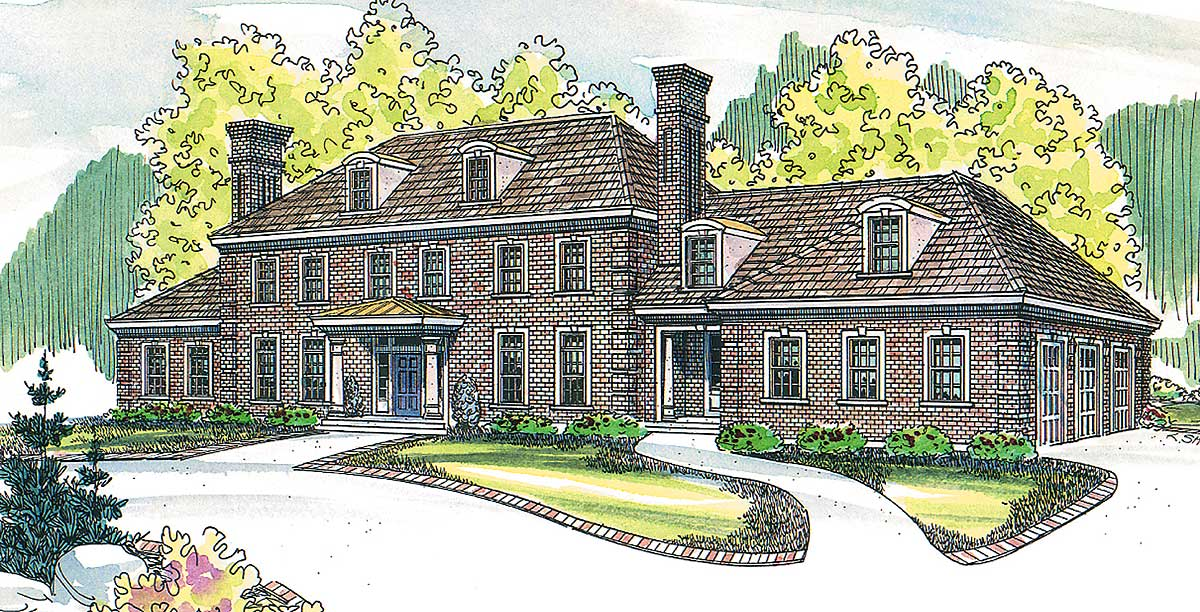 Colonial-Style House Plan with Contemporary Amenit ...