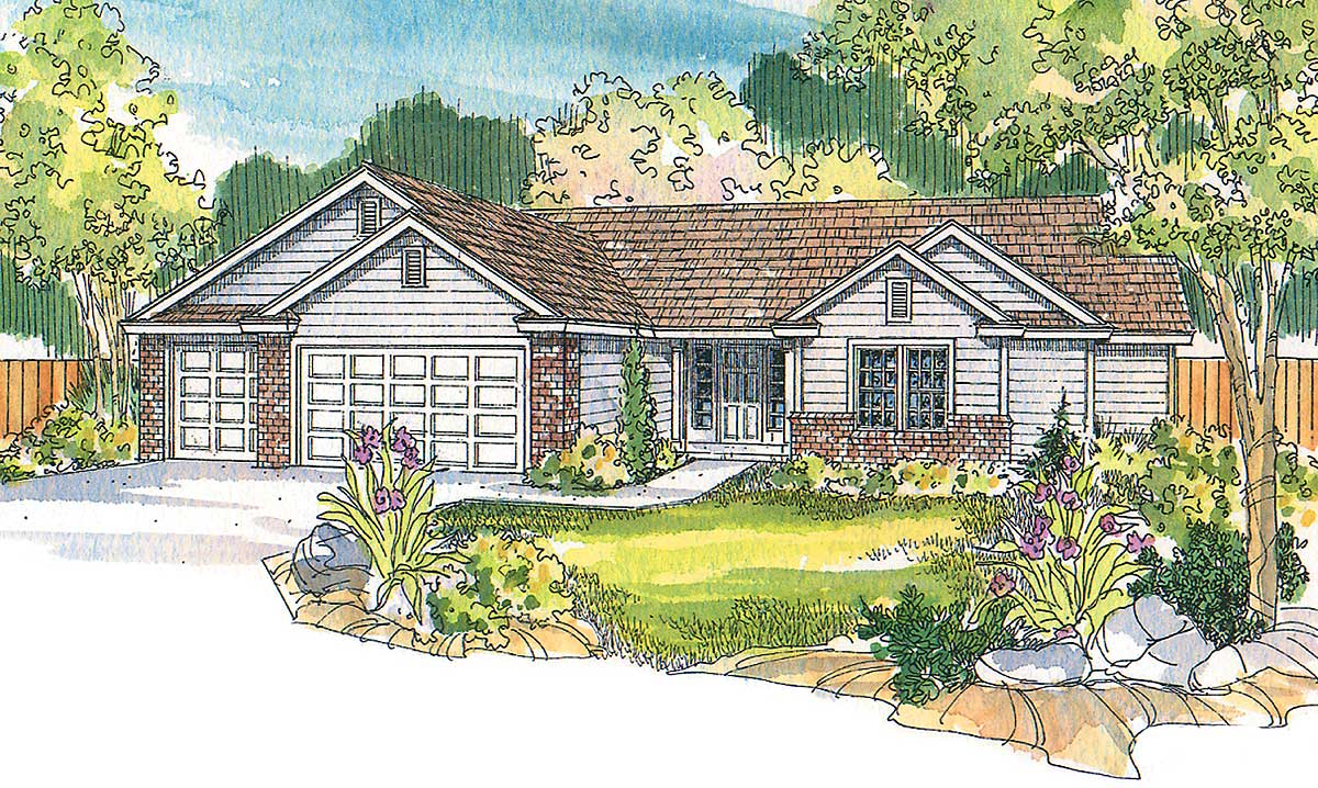 Four gently sloped gables 72081da 1st floor master Four gables house plan
