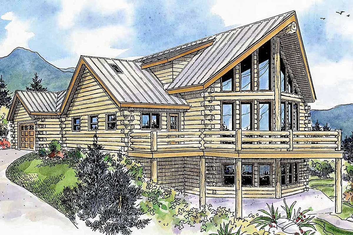 Modern log with rustic appeal 72244da architectural for Modern rustic house plans