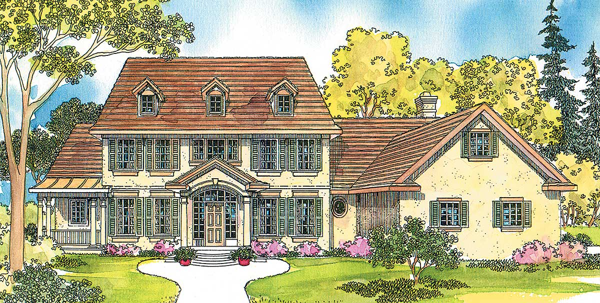 Colonial with arched and columned entry porch 72278da for Colonial home plans with porches