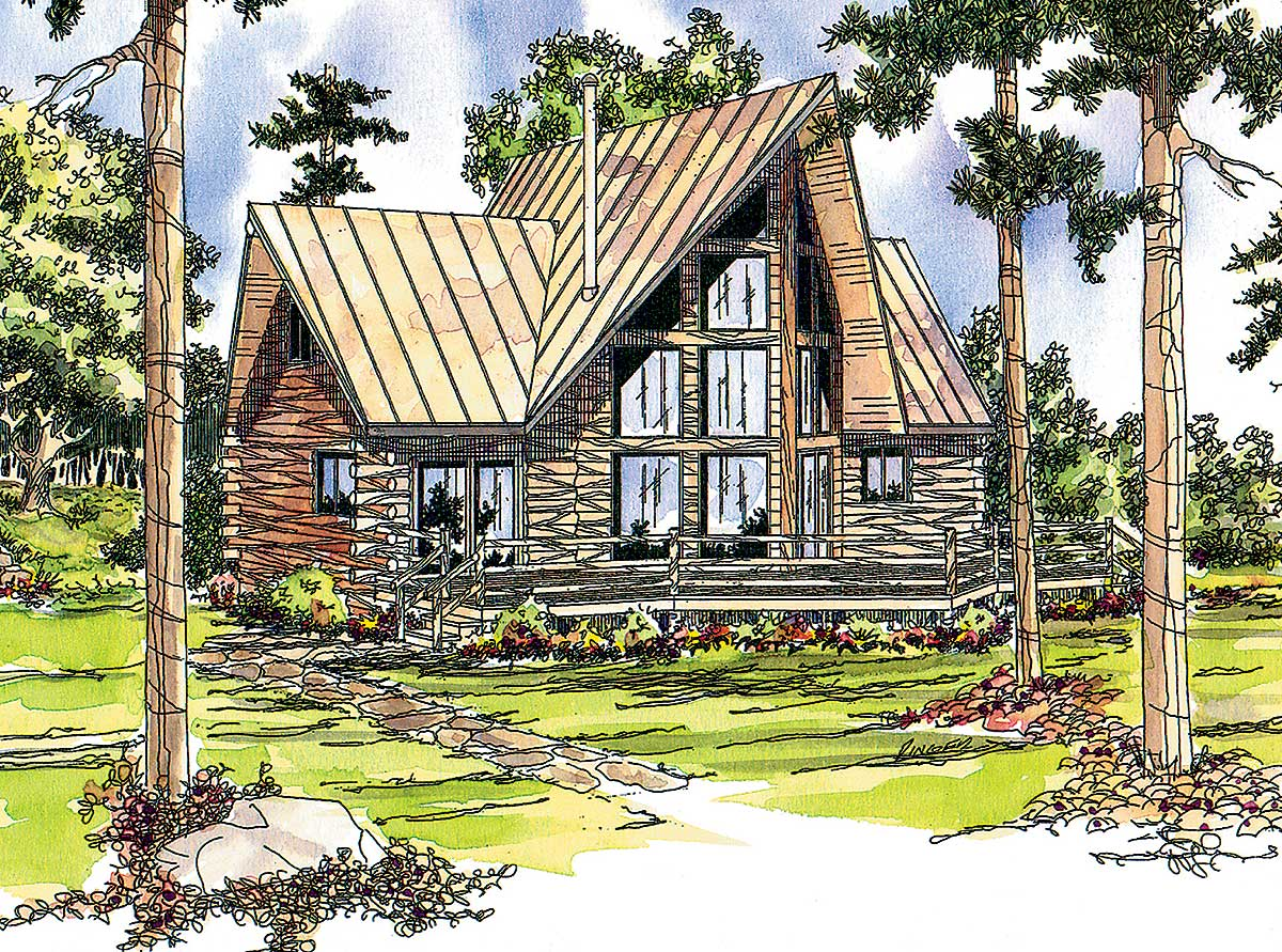 Log cabin with two wings 72320da architectural designs for Cabin home plans