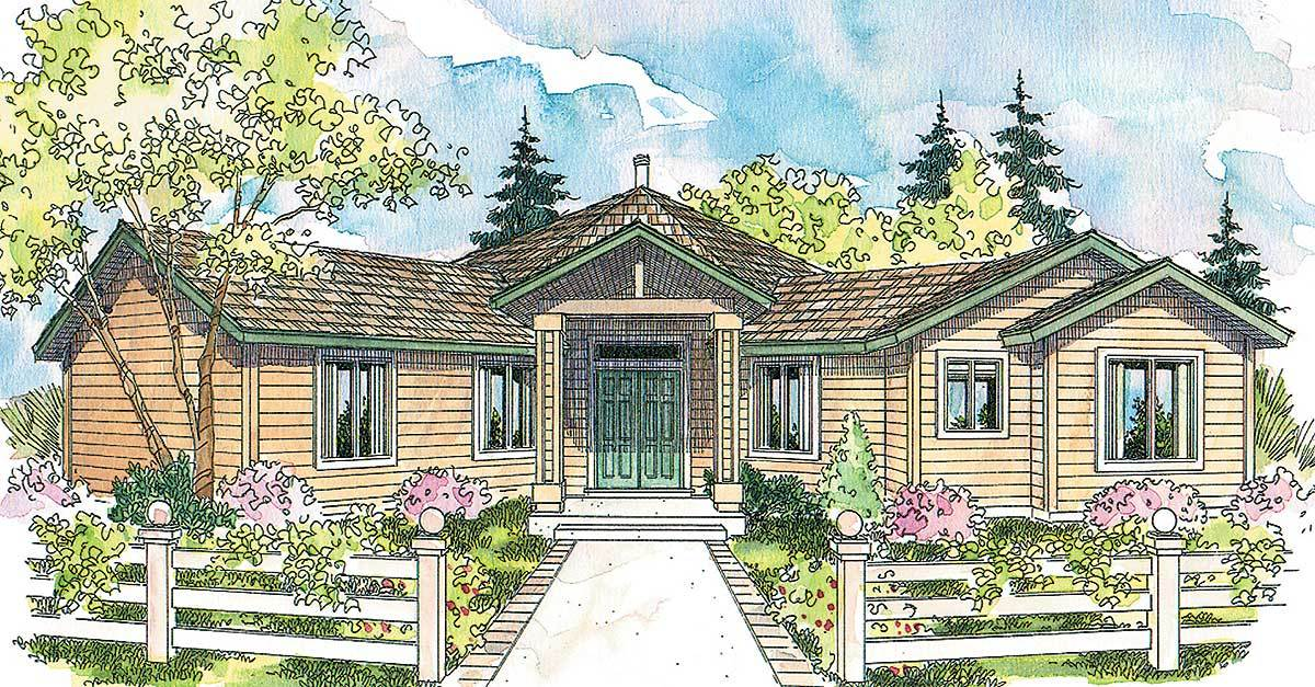 Hexagonal House Plan With Vaulted Great Room 72494da