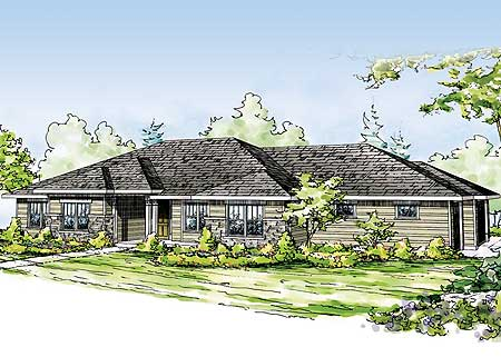 Prairie style ranch home plan 72640da architectural for Prairie style ranch