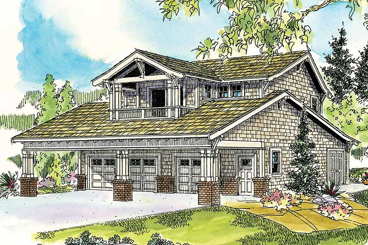Bungalow garage with guest apartment 72649da for 3 garage house plans