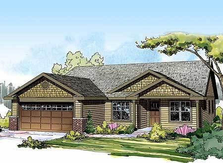 Starter or empty nester craftsman home plan 72679da for Empty nester style house plan